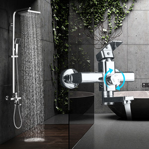 Modern Chrome Rainfall Shower Faucet Single Handle Bathtub Mixer Tap Wall Mounted