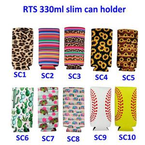 Slim Can Beer Insulators Premium Neoprene Beverage Cooler Collapsible Cola Soda Bottle Koozies Cactus Leopard Can Sleeve ST668