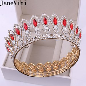 Wholesale JaneVini Luxury Baroque Bridal Tiaras and Crowns Full Circle Crystal Rhinestones Round Wedding Crown Women Headpieces Jewelry
