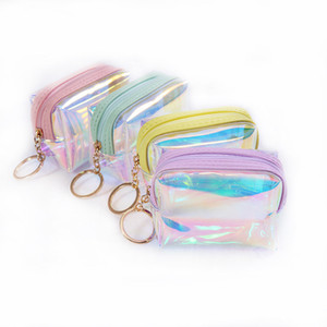 Wholesale Fashion laser coin purse square semi circle jelly transparent coin purse female data cable change storage bag ST313