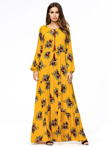 Wholesale Long Sleeve Flowers Boho Dress Women Floral Print Yellow Maxi Dress Ladies Loose Bohemia Beach Dresses Plus Size XL