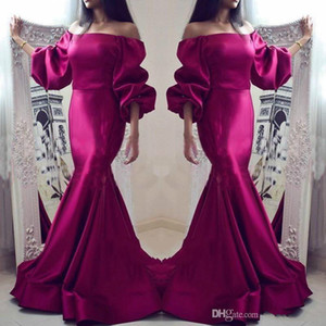 Mulberry Color Mermaid Prom Dresses Sexy Off The Shoulder Loose Long Sleeves Evening Gowns Cocktail Party Dresses Formal Wear For Women 2018 on Sale