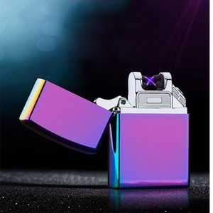 Wholesale Double fire cross twin arc Double cross lighter fire ice new electric arc gold colorful charge usb lighters DHL Free