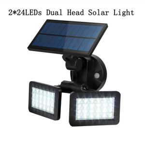 Wholesale Solar LED Motion Sensor Light LED Dual Head Spotlights Modes Adjustable Waterproof Solar Floodlight for Garage Porch Patio Garden Yard