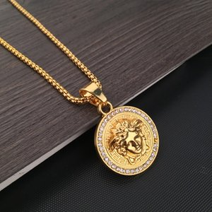 Wholesale 2019 Medusa Round Brand Men s Letter Print Round Brand Necklace Fashion Pendant Hip Hop Rock