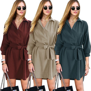Women Designer Summer Dresse New Loose Fitting Mid Sleeve Lapel Shirt Dresses Mid Length Tunic Lace Up Dress