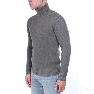 Wholesale Brand High Quality Turtleneck Knit Sweater Long Sleeve Warm Sweaters Black White Grey Sweater M XL Designer Sweatershirts