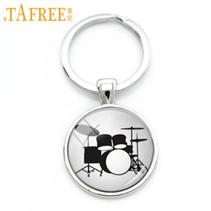 Wholesale TAFREE Drum Kit silhouette key chain DJ turner mixer simple drum set profile pattern keychain drummer jewelry music gifts KC595