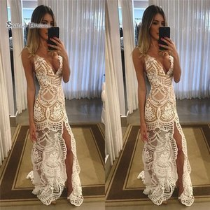 2019 Full Lace Sleeveless Front Split V-neck Mermaid High End Quality Evening Party Dress Hot Sales on Sale
