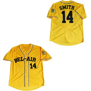 Wholesale Will Smith Bel Air Academy Fresh Prince Movie Baseball Jersey Yellow Men