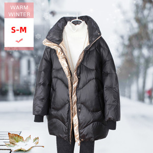 Wholesale Women Winter Thick Long Casual Down Coat Female Stand Collar Warm Loose Light White Duck Down Jacket Windproof Feather Parka Y190918