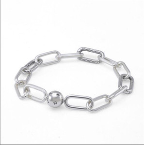 Real S925 Sterling Silver Charms Bracelets Me Collecction Chunky Link Bracelet Bangle Fit For Pandora DIY Bead Charm