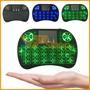 Wholesale Rii I8 Fly Air Mouse Keyboard G Colorful Backlight Mini Wireless Touchpad Keyboard Backlit For PC Pad Android TV Box MXQ X96