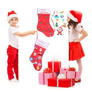 Wholesale Christmas DIY Non woven fabric Christmas socks New Year Gift Kids Toys Candy bag DIY Gift bags Kit Decoration for Home