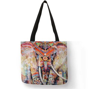 Customized Elephant Mandala Print Linen Tote Bag For Women Fashion Reusable Shopping Bags Printed Traveling School Shoulder Bags on Sale