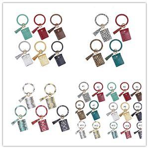 Women Bangle Wristlets Wallet Coin Purses Tassels Key Chains Card Holder Bag Trendy Leopard PU Leather Bracelets Keychain Zero Wallet E22909