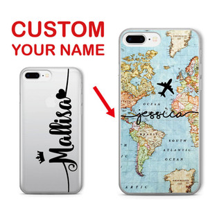 Personalized Custom Name World Map Crown Heart Soft Clear Phone Case For Iphone 6 6s Xs Max 7 7plus 8 8plus 5 X Samsung S7 S8 S9