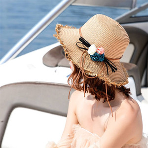 Womens Holiday Beach Hats High Quality Flower Wide Brim Hats Sun Hat Tide 2 Colors Fisherman Hats