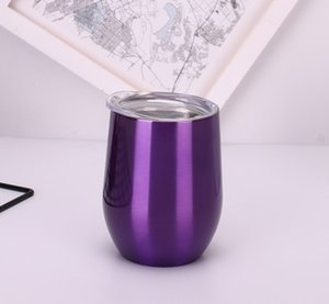 15oz Stainless Steel Tumbler Vacuum Cup Egg Shell Shape Wine Big Belly Cup Coffee Mug With Lid Quickily Delivery