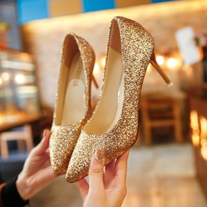 Wholesale Shoes New Women s Toe High Heels Sequins Gradient Color Tip Wedding Banquet Silver Stiletto Single Female Gold Bridesmaid