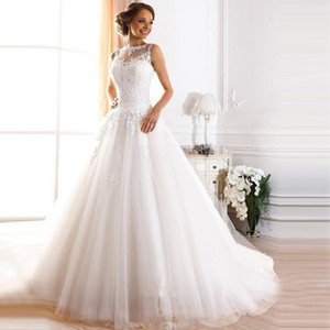 2019 Country Vintage Lace Wedding Dresses High Neckline Long Sleeveless Pearls Tulle Princess Ball Gowns Cheap Bridal Dresses Plus Size on Sale