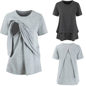 Wholesale European America Maternity Pregnant Women clothes Solid Moms Tops T shirt Short sleeve Cotton Nursing clothing Gray Summer