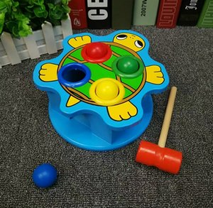 Wholesale Children boys and girls play hamster toys toddler puzzle development wooden toy baby turtle beat table toy