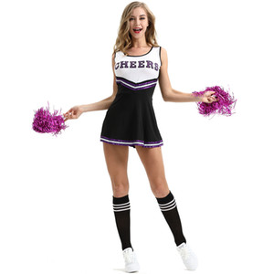 ingrosso giochi di ragazza vestiti-Sexy Girls Club Cheerleading Costumes Nero Student Basket Football Game Dress Lala Flower Lingerie Uniformi Mostra nuovi vestiti alla moda