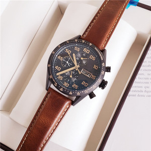 Quartz Automatic Mechanical Mens Watch Black Dial Stainless Steel Shell Brown leather Strap Weekday Calendar Transparent