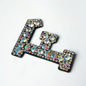 Wholesale F Letters Rhinestones Alphabet Sew Iron On Patches Rainbow Shining Badges For Shirt Jeans DIY Appliques Craft Decoration