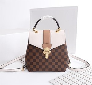 Wholesale Top quality Brand Clapton women backpack Damier Plaid canvas and cowhide Shoulder handbags Genuine leather handbags N4226