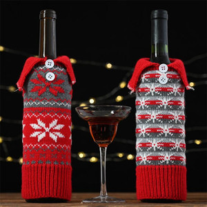 Wholesale christmas decoration outside for sale - Group buy Xmas Red Knit Wine Cover Bag Snowflake Designer Wine Bottle Case Christmas Decoration For Outside Inside DA035