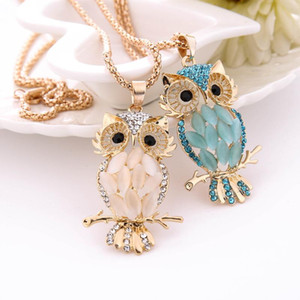 Wholesale NEW Fashion Women Necklace Charm Crystal Owl Choker Cute Pendant Torque Sweater Necklace Flawless Ornaments Trinket Necklaces