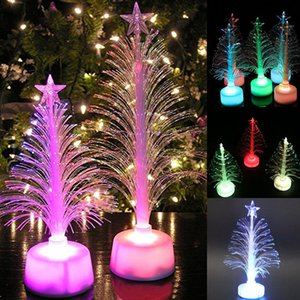 Wholesale Colored Fiber Optic LED Light up Mini Christmas Tree with Top Star Battery Powered DTT88