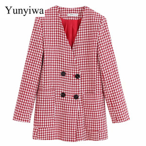 Wholesale Women Vintage Red Plaid Houndstooth Print Woolen Coat Ladies Autumn V Neck Double Breasted Jacket Outwear Coat Chic Tops