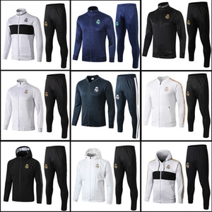 Wholesale S XL La Liga Training Suit Long Sleeve Jersey HAZARD RODRYGO Real Madrid Training Men Jacket Tracksuit full zipper United Uniforms