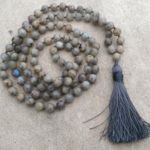 Wholesale 8mm Labradorite Stone Grey Tassel Necklace Traditional Hand Knotted Bead Meditation Mala Necklace Yoga Healing Jewelry Men
