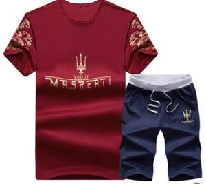 2019 Summer Mens Tracksuit Maserati Printed Men Stall Collar V-Neck Short Sleeves Pullover With Casual Jogger Pants Suits Homme Sportsuit on Sale
