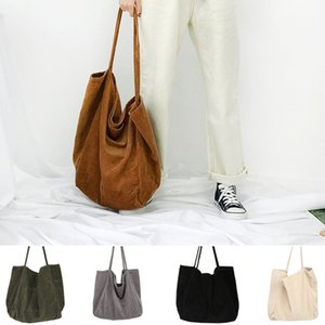 Wholesale Women fashion corduroy designer shoulder bag large capacity female big tote handbag folding reusable shopping bags thin strap cloth bags