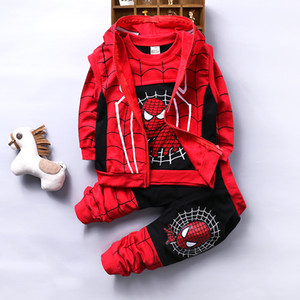 Spiderman Baby Boys Clothing Sets Cotton Sport Suit Children Cool Spider Man Cosplay Costume 3pcs Kids Tracksuit Clothes