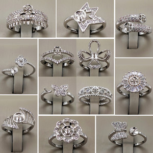 Wholesale Pearl Ring Settings Zircon Solid 925 Silver Ring Settings 16 Styles Ring for Women Mounting Rings Adjustable Blank DIY Jewelry Gif
