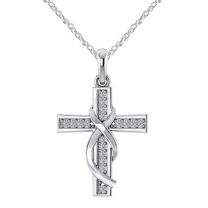 Wholesale Cross Necklace For Fashion Women Luxury Rose Gold Diamond Rhinestone Cross Infinity Pendant Necklace Jewelry Christmas Gifts