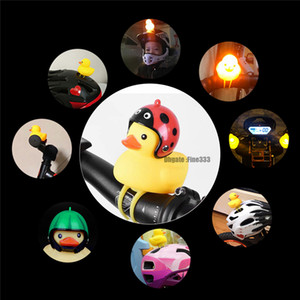 Wholesale Shawnader07 Bicycle Duck Bell with Light Broken Wind Small Yellow Duck MTB Road Bike Motor Helmet Riding Cycling Accessories led lights Toys