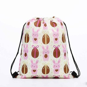 Wholesale Easter Bunny Bundle Gym Bag Polyester Fiber Egg Print Backpack Portable Cartoon Radish Daypack Lovely Shopping ECO Friendly