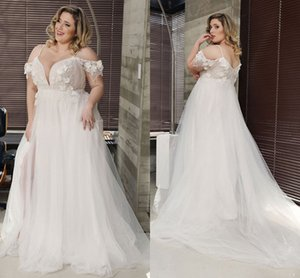 Stunning Plus size 3D Floral Flowers Cold shoulder Wedding Dresses Bridal Gown Tulle Beading Pleated Tulle Lace Boho Cheap Wedding Dress on Sale