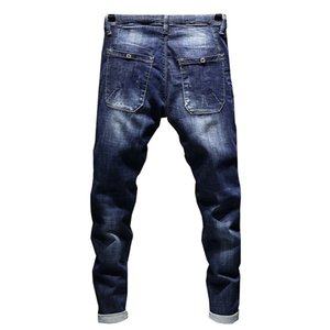 Jeans Men's Stretch Biker Ripped Pants Blue Drawstring Slim Fit Tapered Torn Distressed Boys Student Joggers 19SS on Sale