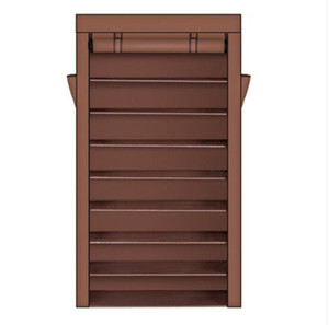 Wholesale 10 Tiers Shoe Rack with Dustproof Cover Closet Shoe Storage Cabinet Organizer Dark Brown