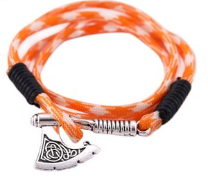 Wholesale umbrella rope bracelet resale online - Huilin Jewelry North American style umbrella rope survival Viking axe multi layer bracelet for men and women