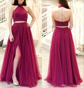 Wholesale Dark Red Two Pieces Long Prom Dresses Halter Beads Top Tulle Skirt Split Teens New Hot k18 Prom Gowns Evening Party Dress Sale