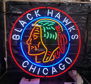 Wholesale CHICAGO BLACK HAWKS Neon Sign Light Advertising Bar Entertainment Club Decoration Art Display Real Glass Lamp Metal Frame